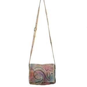 Artisan hand painted leather 80s crossbody bag